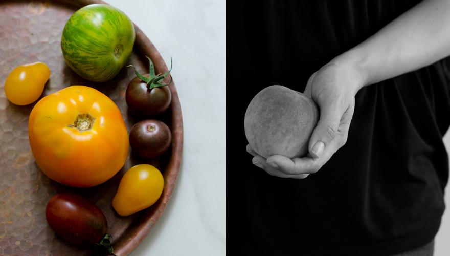 Pfirsich und Tomaten